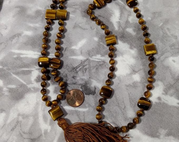 MALA: TIGER EYE Tigereye (Brown)  Natural Gemstone Silk Tassel Necklace 108 count