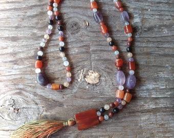 MALA: MIXED GEMSTONES Natural Gemstone Silk Tassel Necklace 108 count