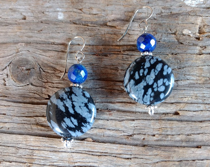 SNOWFLAKE OBSIDIAN & LAPIS Lazuli Gemstone Earrings Sterling Silver Natural Stone