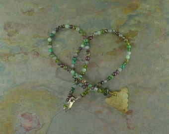 Serpentine Carved Pendant w/ Mixed Stone African Trade Beads & Swarovski Necklace