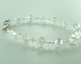 SALE: Clear Aurora Borealis AB Swarovski Crystal Colorful Bracelet Wedding Prom Sterling Silver