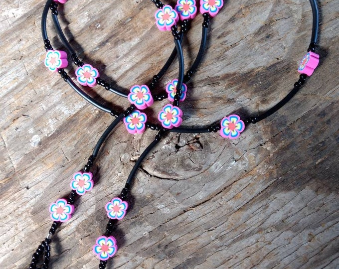 SALE: Pretty BRIGHT CHOOSE Style Flowers Spring Fimo Polymer Clay and Glass Beads Eyeglass Chain