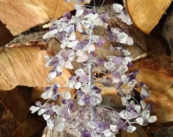 ROSE QUARTZ AMETHYST Rock Quartz Gemstone Tree Handmade Natural Semi-Precious Stones Healing Metaphysical