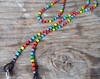 SALE: Pretty RAINBOW CHAKRA (Bright) Frosted Glass Beads Eyeglass Chain