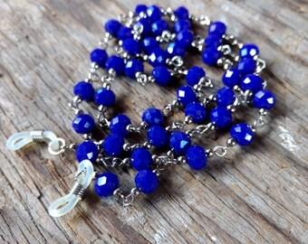 COBALT BLUE, Czech Glass Beads, Linked Silver Wire Eyeglass Chain