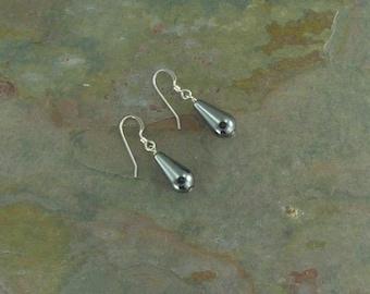 Hematite Gemstone Earrings Sterling Silver Natural Stone