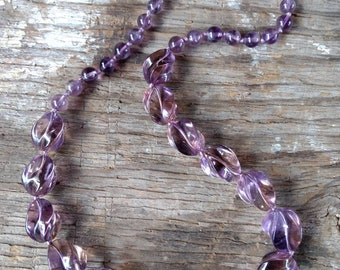 STUNNING Natural AMETRINE Carved Twist Sterling Silver Necklace