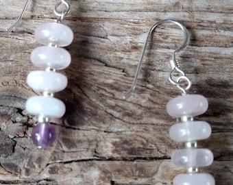 Amethyst & Rose Quartz Gemstone Earrings Sterling Silver Natural Stone