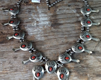 ZUNI Vintage Sterling Silver Natural CORAL Bear Claw Squash Blossom NECKLACE Stunning Collectors Show Piece Native American