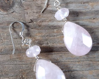 Rose Quartz Faceted Gemstone Earrings Sterling Silver Natural Stone