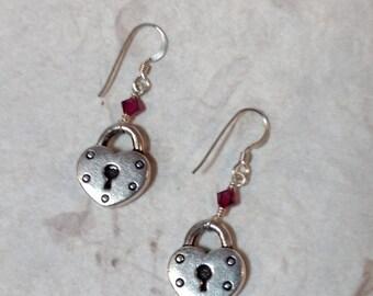 Heart Lock w/ Fuchsia Swarovski Cyrstal Sterling Silver Earrings
