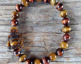 BROWN & Red TIGER EYE Buddha Chakra Stretch Bracelet All Natural Semi-Precious Stones Healing Metaphysical