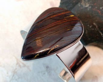TIGER IRON Stone STATEMENT Cuff Bracelet Sterling Silver Wide Band Wow!