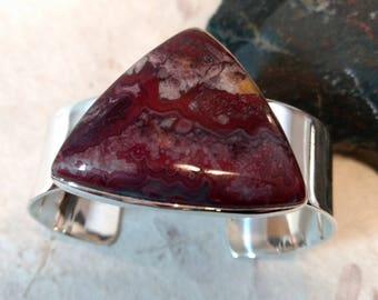RED CRAZY LACE Agate Stone Statement Cuff Bracelet Sterling Silver Wide Band Wow!