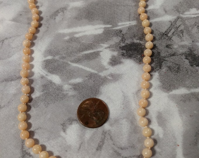 """Vintage Salmon Coral Necklace, Sterling Silver Clasp, Natural Undyed Color, 19"""" long, Necklace"""