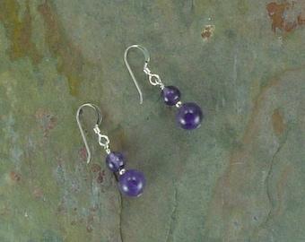 Amethyst Gemstone Earrings Sterling Silver Natural Stone