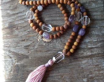 MALA: SANDALWOOD & CRYSTAL Rock Quartz Amethyst Rose Quartz Natural + Fragrant Beads Silk Tassel Necklace