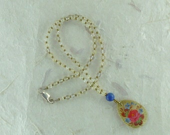 Floral Painted Mother of Pearl Pendant with Natural Citrine & Lapis Lazuli Necklace