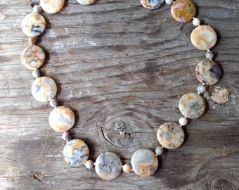 CRAZY LACE AGATE Large Coin Necklace All Natural Semi-Precious Stones Healing Metaphysical