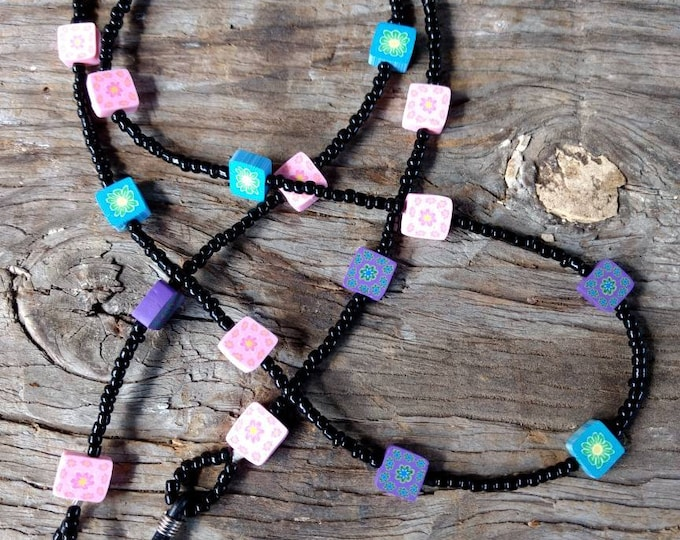 SALE: Whimsical Multiple Color SQUARES Fimo Polymer Clay, Glass Beads, Eyeglass Chain