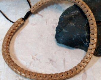 SNAKE VERTEBRAE Natural BEADED Necklace, Adjustable Cord