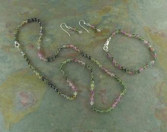 SET: WATERMELON TOURMALINE Necklace Bracelet & Earring Set All Natural Semi-Precious Stones Healing Metaphysical