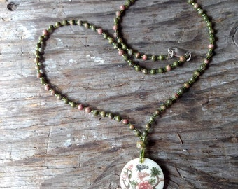 Butterfly & Flowers - Hand Painted Bone Pendant w/ Natural Unakite Necklace