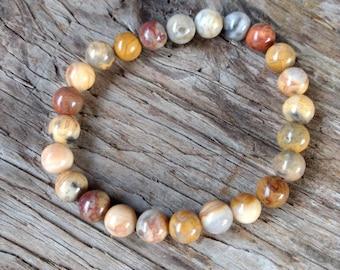 CRAZY LACE AGATE Chakra Stretch Bracelet All Natural Semi-Precious Stones Healing Metaphysical