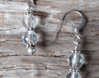 ROCK QUARTZ CRYSTAL Faceted Gemstone Earrings Sterling Silver Natural Stone