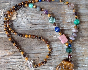 CARVED BUDDHA Tiger Eye Mixed Natural Gemstone Sterling Silver Necklace