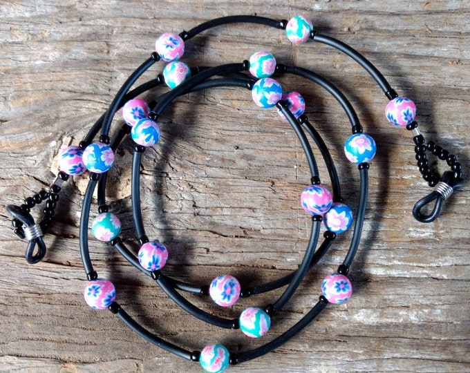 SALE: FLORAL Round, CHOOSE Color, Fimo Polymer Clay and Glass Beads Eyeglass Chain