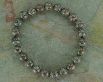 BUFFALO JASPER Chakra Stretch Bracelet All Natural Semi-Precious Stones Healing Metaphysical