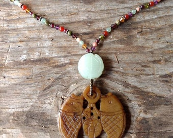 Serpentine Carved Fish Pendant w/ Mixed stones and Swarovski Necklace