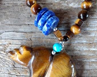 Carved Bear TIGER EYE TURQUOISE Lapis Lazuli Natural Gemstone Sterling Silver Necklace