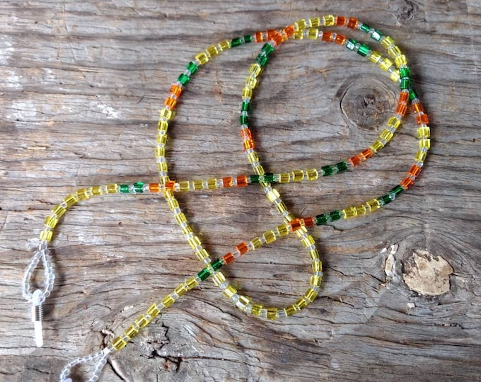 SALE: Pretty Colorful CHOOSE Color Silver Lined Glass Beads Eyeglass Chain