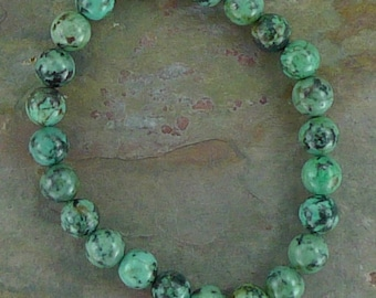 AFRICAN TURQUOISE Chakra Stretch Bracelet All Natural Semi-Precious Stones Healing Metaphysical