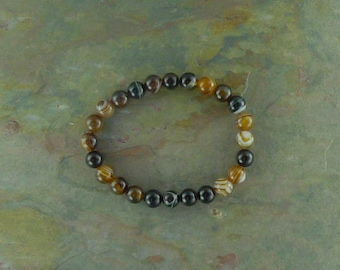 BROWN BANDED AGATE Black Chakra Stretch Bracelet All Natural Semi-Precious Stones Healing Metaphysical