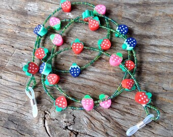 Yummy Mixed Berry Berries STRAWBERRY Strawberries Slices FRUIT Whimsical Fimo Polymer Clay & Glass Beads Eyeglass Chain