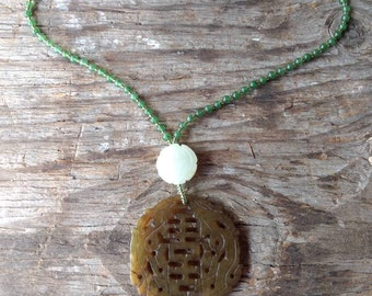 Serpentine Carved Pendant w/ Natural Jade Necklace