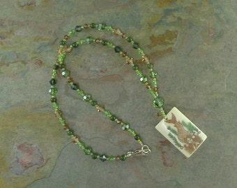 MERMAID - Hand Painted Bone Pendant w/ Natural Jade & Swarovski Crystal Necklace