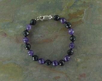 AMETHYST & BLACK ONYX (Faceted) Chakra Bracelet All Natural Semi-Precious Stones Healing Metaphysical