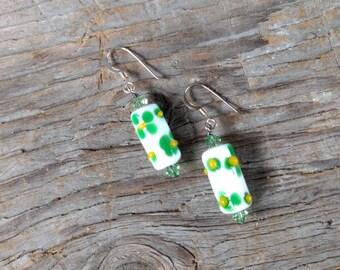 SALE: GREEN YELLOW Flowers White Lampwork w/ Swarovski Crystal Sterling Silver Earrings