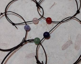 Leather Single Bead Stack Adjustable Bracelet All Natural Semi-Precious Stones Healing Metaphysical Minimalist