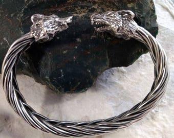 WOLF DIREWOLF Sterling Silver TORQUE Braided Unique Bracelet Cuff Stunning Statement Unisex