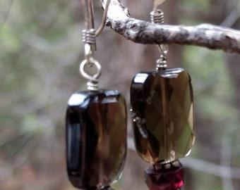SMOKY QUARTZ GARNET & Rose Quartz Gemstone Earrings Sterling Silver Natural Stone