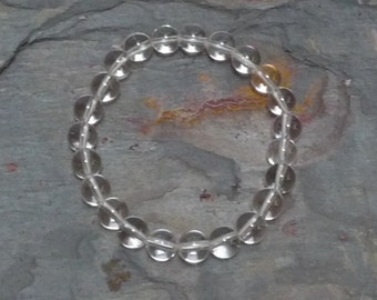 ROCK QUARTZ CRYSTAL Chakra Stretch Bracelet All Natural Semi-Precious Stones Healing Metaphysical