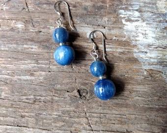 Blue Kyanite Gemstone Earrings Sterling Silver Natural Stone