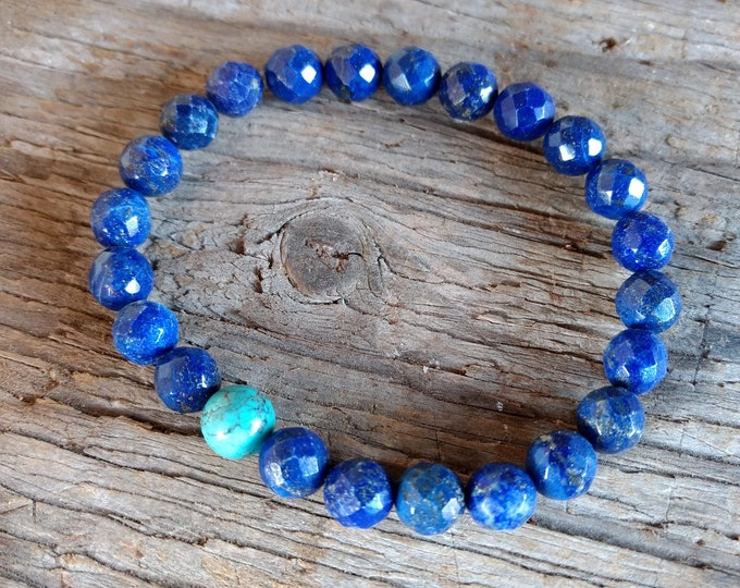 LAPIS LAZULI (Faceted) w/ TURQUOISE Chakra Stretch Bracelet All Natural Semi-Precious Stones Healing Metaphysical