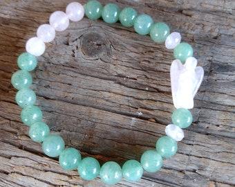 AVENTURINE & ROSE Quartz w/ Rose Quartz ANGEL Chakra Stretch Bracelet All Natural Semi-Precious Stones Healing Metaphysical
