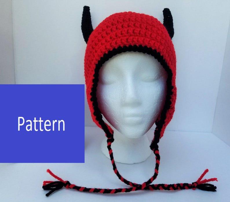 aeaf21bf0bf Crochet Pattern for Devil Earflap Hat adult size